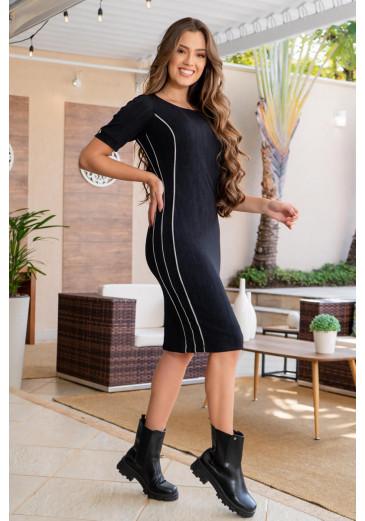 Vestido em Crepe Recortes Luciana Pais