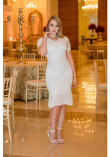 Vestido Branco Detalhe em Tule Kauly Primavera/Verão 2021