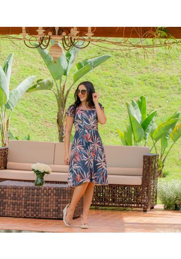 Vestido Estampado com Fivela Luciana Pais Alto Verão 2021