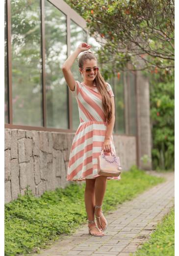 Vestido Godê Listras Rose Maria Amore Primavera/Verão 2021