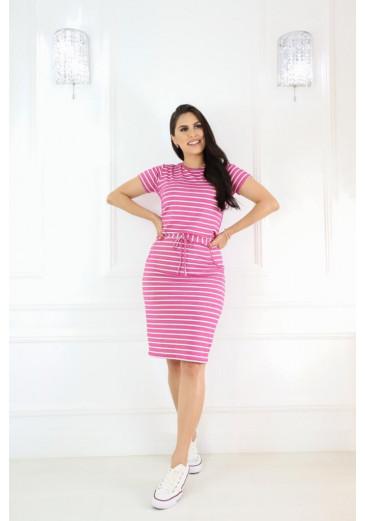 Vestido Rosa Listrado com Bolso Alto Verão 2021
