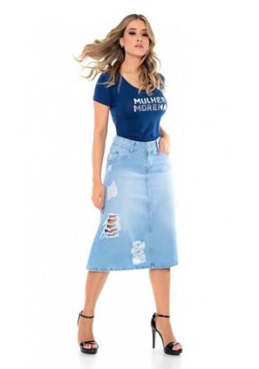 Saia Jeans com Detalhes Destroyed Mulher Morena Outono/Inverno 2021