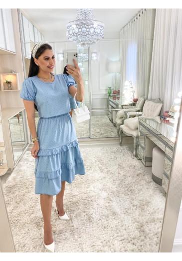 Vestido Nápoles Poá Azul Primavera/Verão 2022