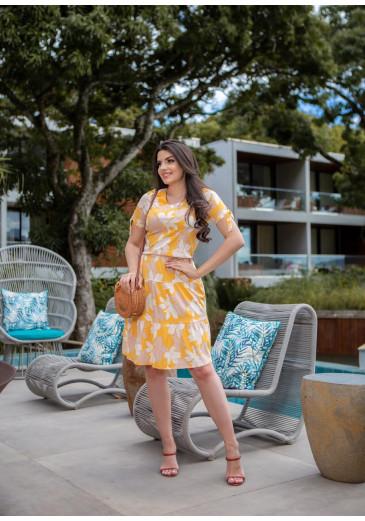 Vestido Antonella Em Viscose Amarelo Boutique K Primavera/ Verão 2022