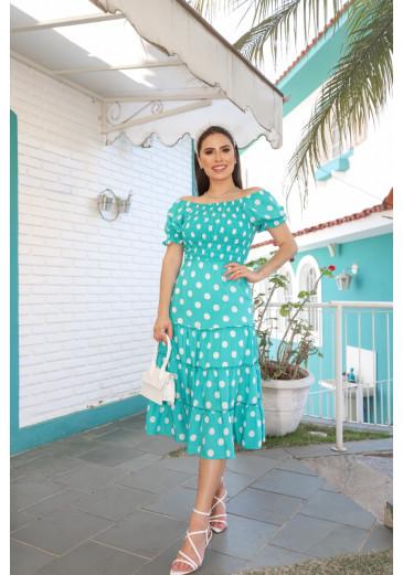 Vestido Beatrice em Poá Verde Primavera/Verão 2022