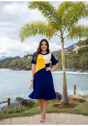 Vestido Patrícia em Malha Azul Boutique K Primavera/Verão 2022