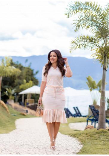 Vestido Joana Listra Coral Boutique K Primavera/Verão 2022