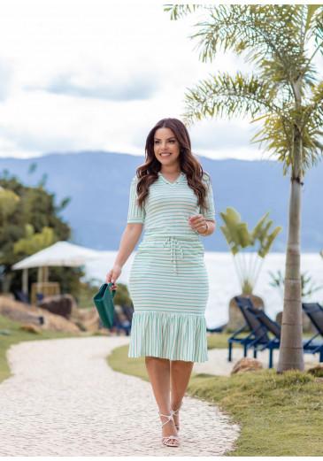 Vestido Joana Listra Verde Boutique K  Primavera/Verão 2022