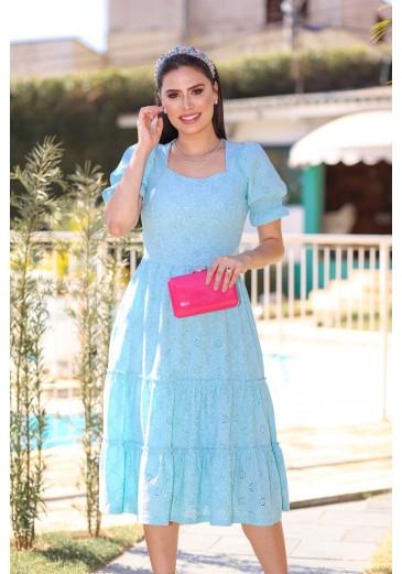 Vestido Emanuele Azul Primavera/Verão 2022