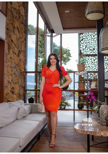 Vestido Angela Em Viscose Laranja Boutique K Primavera/ Verão 2022