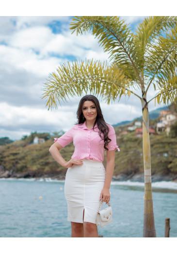 Camisa Helena Em Viscose Rosa  Boutique K Primavera/ Verão 2022