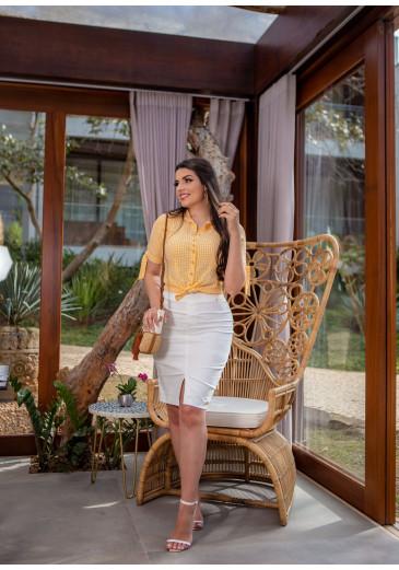 Camisa Helena Em Viscose Amarela Boutique K Primavera/ Verão 2022