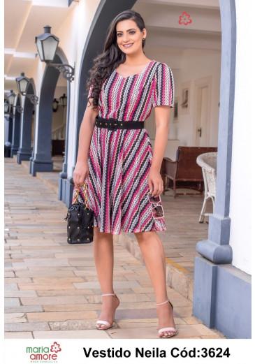 Vestido Neila Godê Listrado Maria Amore Primavera/ Verão 2022