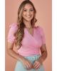Blusa Crepe Transpassada Rosa Tatá Martello