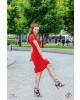 Vestido Animal Print com Amarração Vermelho Puro Sharmy
