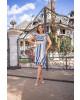 Vestido Canelado Listrado Azul Maria Amore