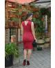 Vestido com Recorte Vermelho Kauly