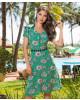 Vestido Crepe Estampado Verde Bella Herança