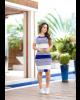 Vestido Detalhe Renda Azul Clara Rosa