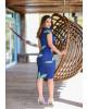 Vestido Drapeado Floral Azul Boutique K