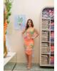 Vestido Drapeado Floral Salmão Boutique K