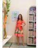 Vestido Estampado com Pregas Vermelho Boutique K