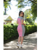 Vestido Listrado Neon Rosa Luciana Pais