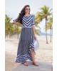 Vestido Longo Listras Azul-Marinho Bella Herança