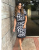 Vestido Print Preto Clara Rosa
