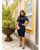Vestido Tubinho em Malha Azul-Marinho Boutique K